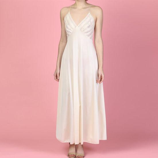 a308349fd27 Women Silky Satin Lace Backless Maxi Slip Pinky Nightgown Sleep Dress