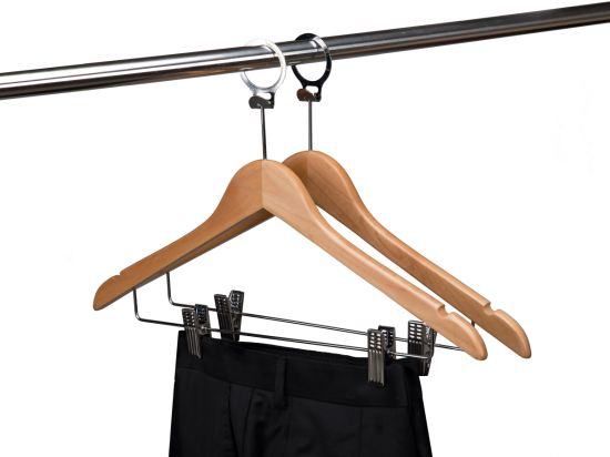 Quality Natural Color Wooden Hotel Anti Theft Hangers with Ring