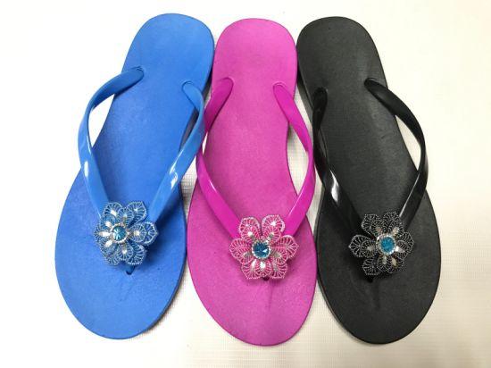 Women PVC Flower Sandals Casual Flip Flops Slippers (FQF-38)