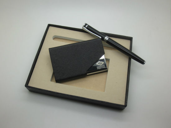 Business Gift Keychain Leather Card Holder Set