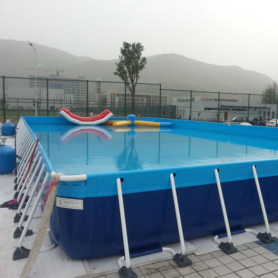 China Large Pvc Portable Above Ground Swimming Pool Rectangular Metal Frame Swimming Pool For Sale China Pvc Swimming Pool And Inflatable Swimming Pool Price