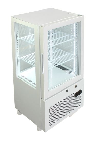 Table Top 4 Sides Glass Door Display Upright Showcase Refrigerator Fridge with LCD Screen Yy-58f