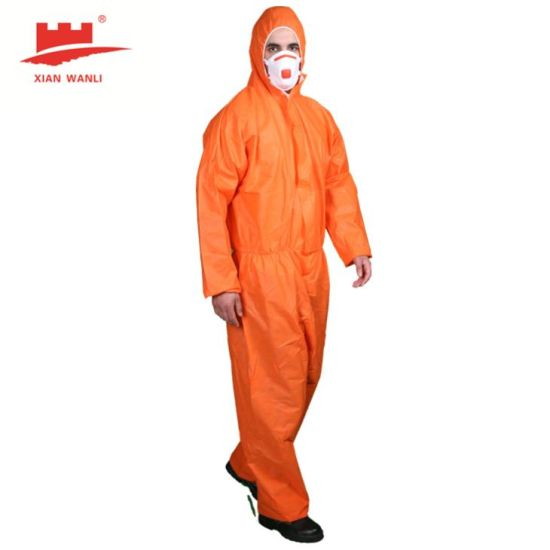 Wlo3003 CE Type 56 SMS Breathable Hazmat Suit Waterproof Disposable Coverall Industrial Anti-Static Safety Type 5/6 Clothing for Asbestos Removal
