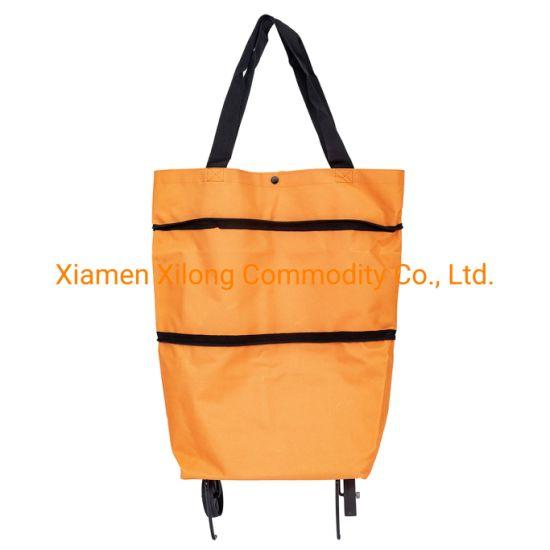 Customized Factory Price High Quality Orange Oxford Fabric Supermarket Folding Foldable Trolley Shopping Bag