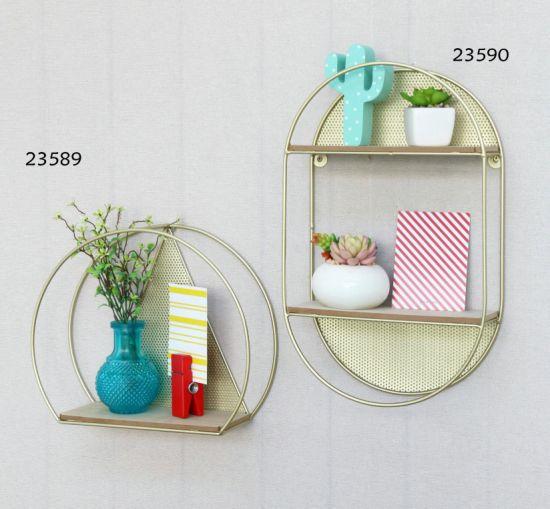 Round Metal Hanging Shelf with Wooden Board Base 30.5X10X25.2cm Wall Art, Wall Decor, Metal Wall Art, Home Decor, Home Decor Craft