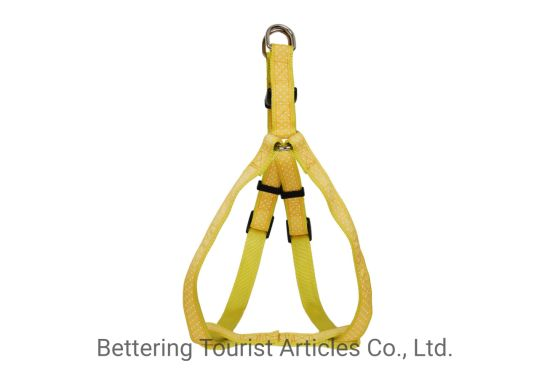 Tape Round DOT Webbing Dog Harness Yellow