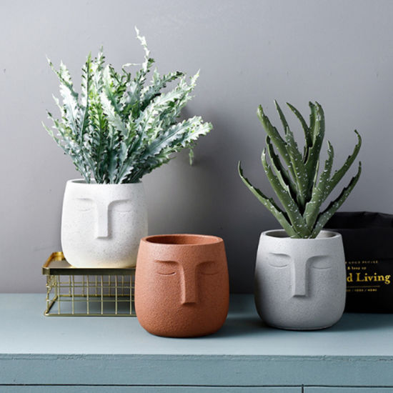 North European Resin Flower Pot Matte Human Face Fashion Simple Art Personality, for Indoor Outdoor Balcony Decor Gift