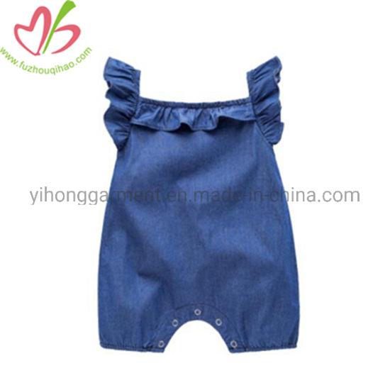84dbd621a86 Flutter Sleeves Cute Soft Fabric Ruffle Baby Girl Denim Jumpsuit
