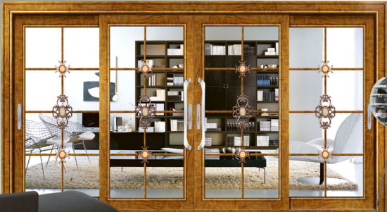 China 4 Panels Interior Aluminium Frame Sliding Door for TV Room ...