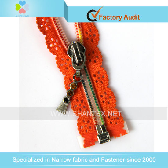 No. 5 Nylon Zipper Colorful Teeth Fancy Puller Open End