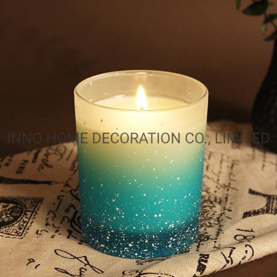 Raincoast Hot Sale OEM 200g Logo Round Candle Frosted Gradient Glass Bottle Perfume Scented Candle