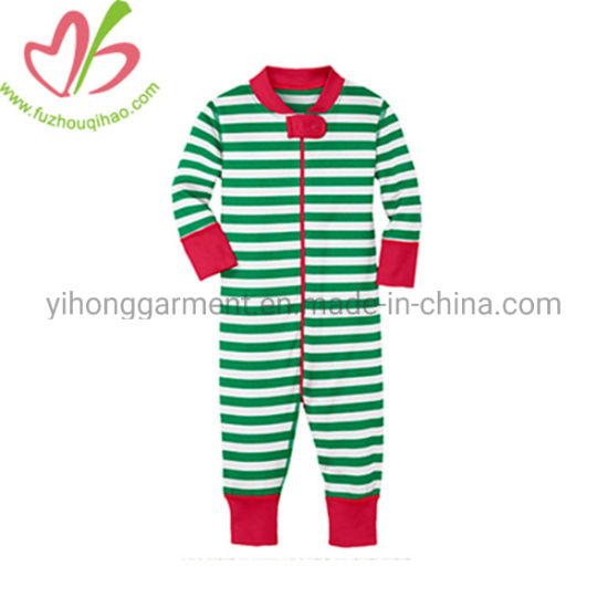 Red/Green Stripes Baby Christmas Romper Unisex Longalls pictures & photos