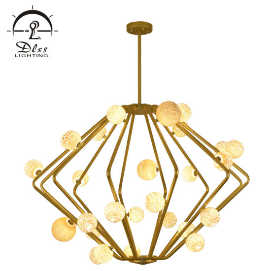Big Chandelier Iron Glass Material G9 LED Lighting for Project Showroom