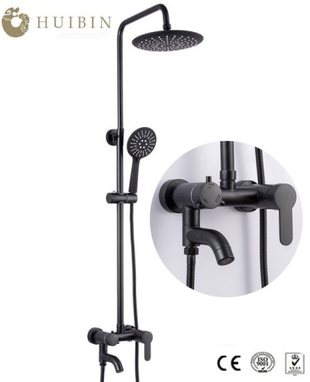 Factory Supply Classic Bathroom Shower Faucet Black Wall Mounted Shower Set pictures & photos