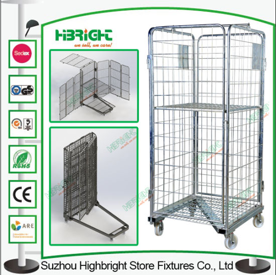 Zinc Metal Laundry Roll Cage Trolley pictures & photos