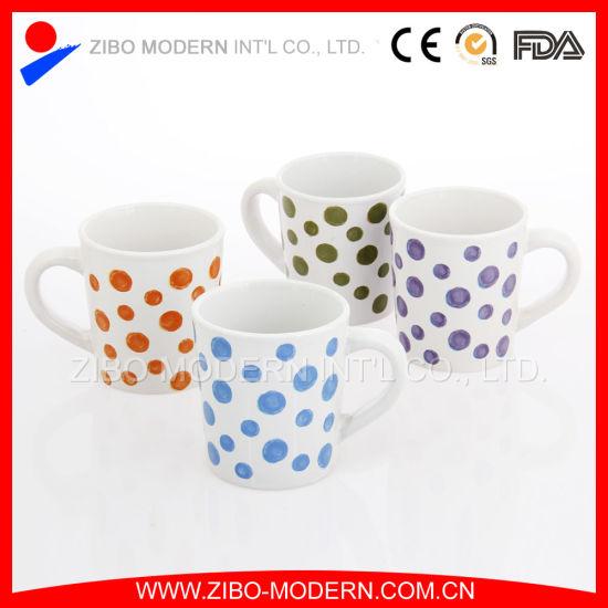 Wholesale Promotion V Shape Porcelain Coffee Mug with Colorful Dots