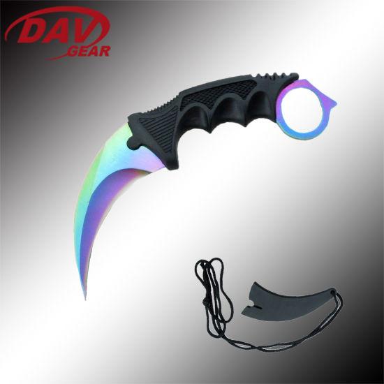 "7.5""3Cr13 S. Steel Rainbow Titanium Coated Blade Overall Length Pocket Knife"