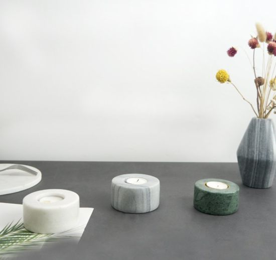 Wholesale Good Price Small Natural White Green Grey Marble Candlestick Marble Candle Holder for Bathroom
