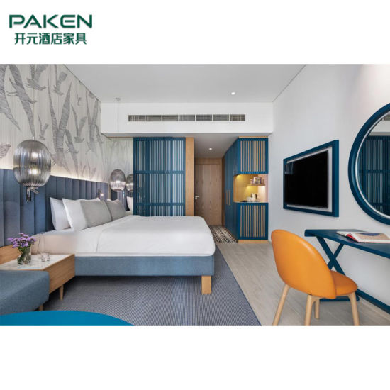 Blue Color Hotel Bedroom Furniture Design for Guesthouse or B&B