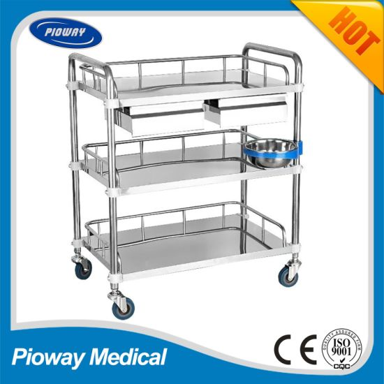 Stainless Steel Medical Hospital Trolley Cart, Dressing, Treatment, Medicine Trolley with Drawers and Baisn Pw-803