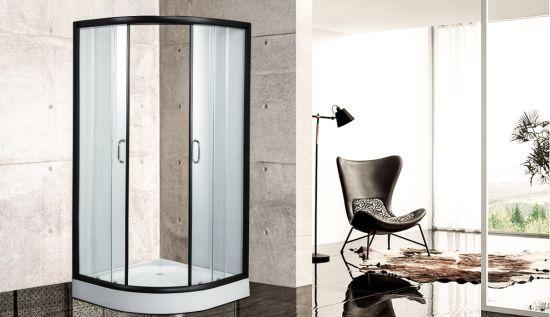 Black Frame Super Quality Sliding Clear Glass Shower Cabin