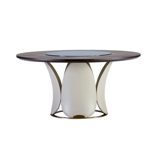 Wooden Dining Table with Glass Top Lazy Susan and Petal Base 1.38m 1.5m 1.8m