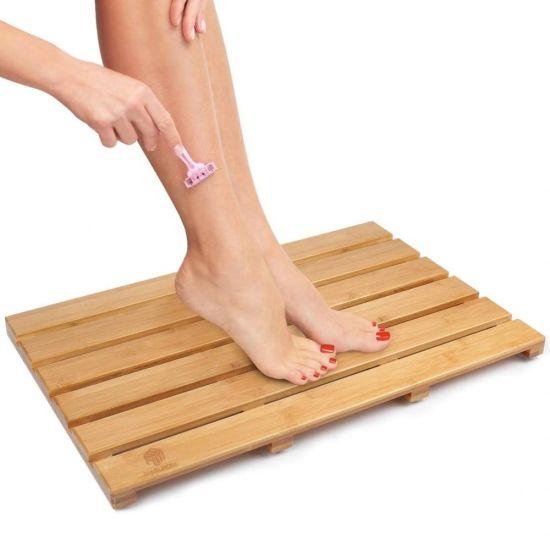 Wholesale Eco-Friendly Anti Slip Round Square Wooden Bamboo Bath Mat SPA Bathroom Shower Mat