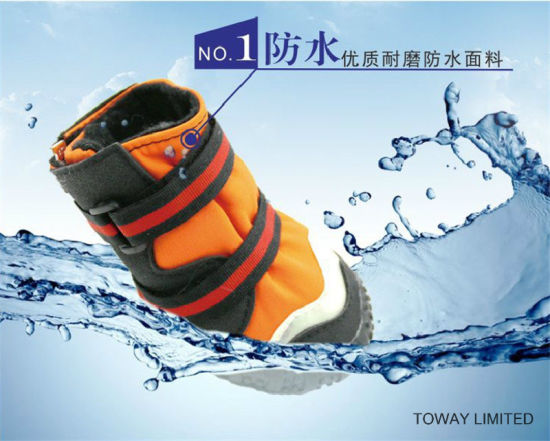 Waterproof Reflective Oxford Anti Skid Winter Outdoor Dog Shoes pictures & photos