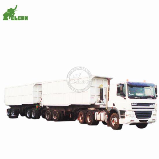 Tandem Tipping Hydraulic Transport Coal Sand Stone Rocks Dumper Semi Truck Trailers Long Vehicle