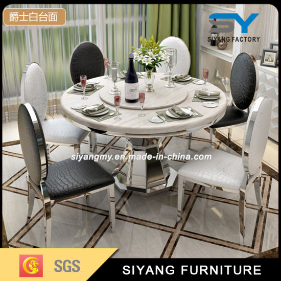 Italian Marble Top Dining Table With 8, Round Dining Room Tables For 8