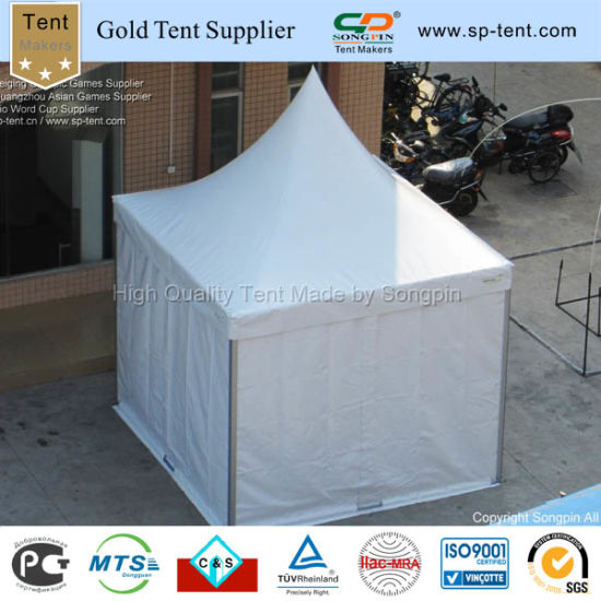 Solid White 3x3m Flexible Fully Enclosed Canopy With Plain Sidewalls And Logo Attached In The Tent Flap