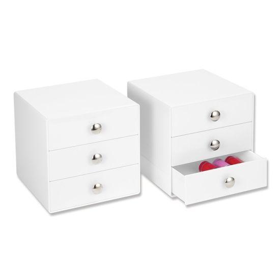 Luxurious White Acrylic Makeup Organizer 3 Drawers