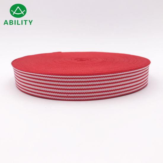 Customized White Red Line Webbing Tape Grosgain Tape