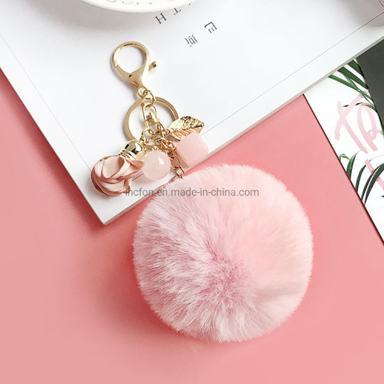 Women Fluffy Rabbit Fur Pompom Key Ring Keychains for Bag pictures & photos