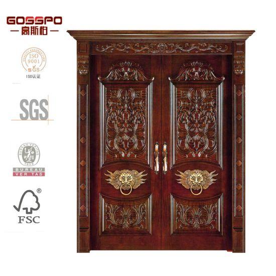 China Villa Main Entrance Double Interior Mahogany Woodwooden Doors