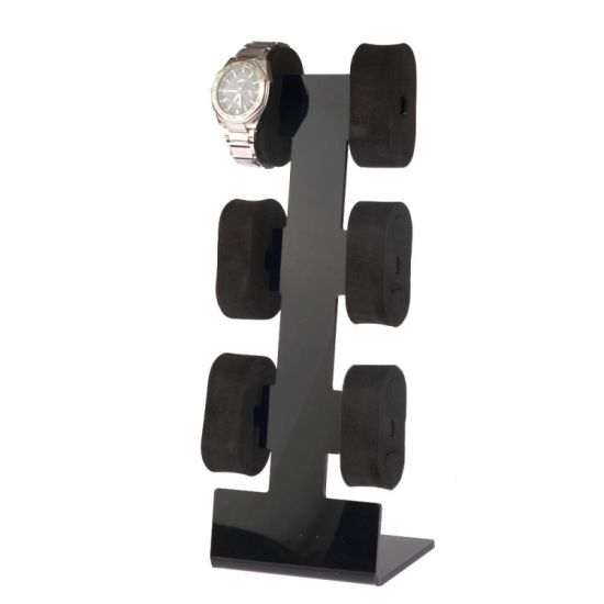 Standing Black Acrylic 6 Units Watch and Bracelet Display Stand