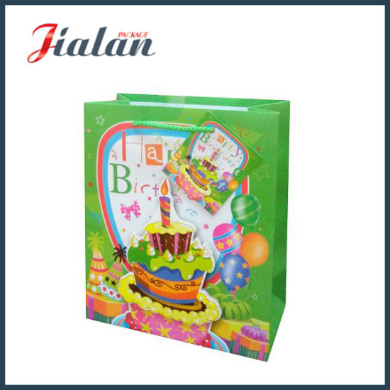 Customize Happy Birthday with 3D Cake Shopping Gift Paper Bag pictures & photos