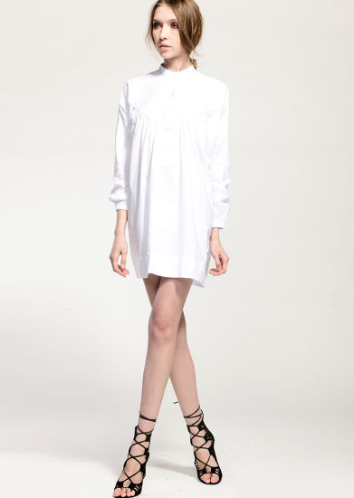 4f8ba84421 China Simple White Loose Pleated Cotton Long Sleeves Dress - China ...