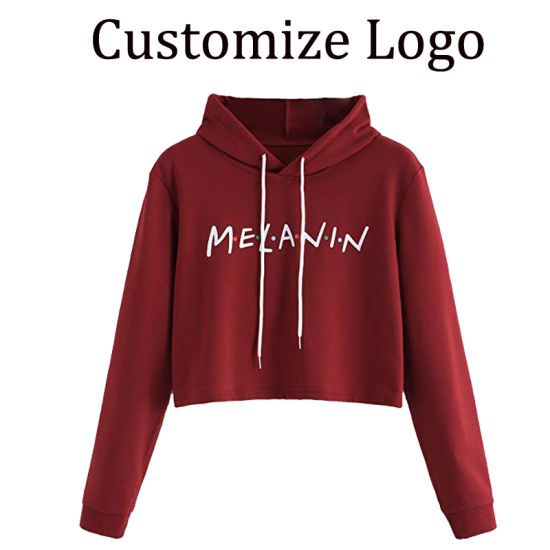 c5e1d4b8e Custom Long Sleeve High Quality Women Crop Cotton Terry Hoodie Top with Logo