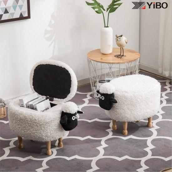Animal Shape Footstool Kids Storage Stool Ottoman for Living Room
