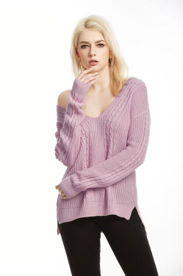 Sexy V-Neck Pullover Knitwear Casual Clothes Women Fashion Sweater