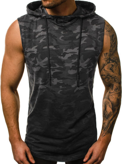 Men's Vest Camouflage Printing Sweatshirts Hoodies Sleeveless Sports Gym Wear Apparel Stock Clothes