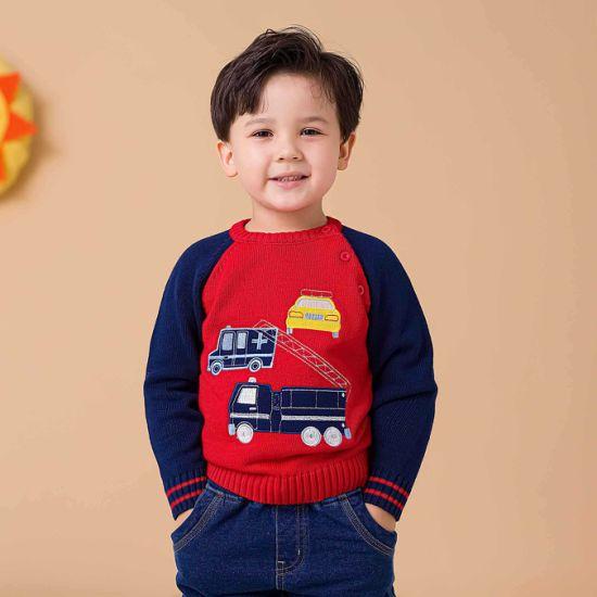 Children's Raglan Swaeater Cute Cartoon Car Knitted Sweater