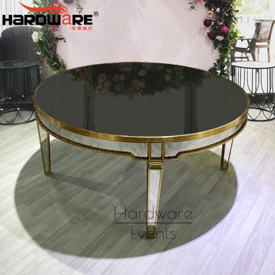 China Modern Stainless Steel Frame Mirror Glass Top Round 8 Seater Dining Tables And Chairs Set China 10 Person Dining Table Dining Tables And Chairs Set