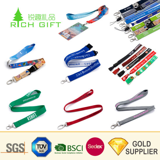 Personalized Custom Logo Tubular Neck Nylon ID Card Holder Key Wrist Printing Printed Polyester Woven Sublimation Mobile Cell Phone LED Lanyard No Minimum Order pictures & photos