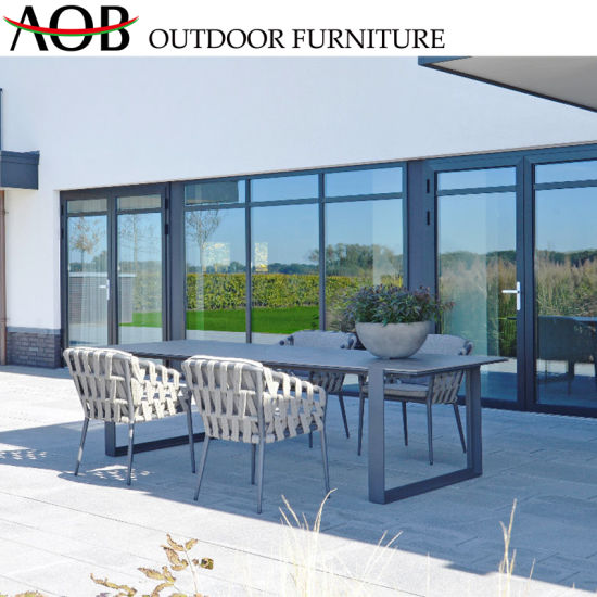 Contemporary Garden Furniture Sets Rope Woven Chair Aluminum Dining Table