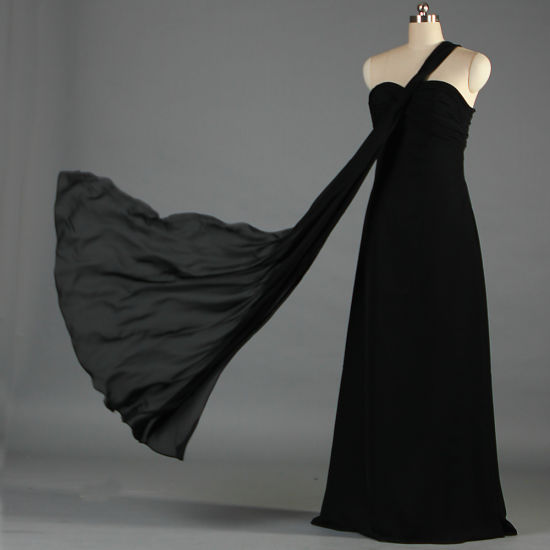Women's Formal One Shoulder Long Black Evening Dresses for Wedding Party E099