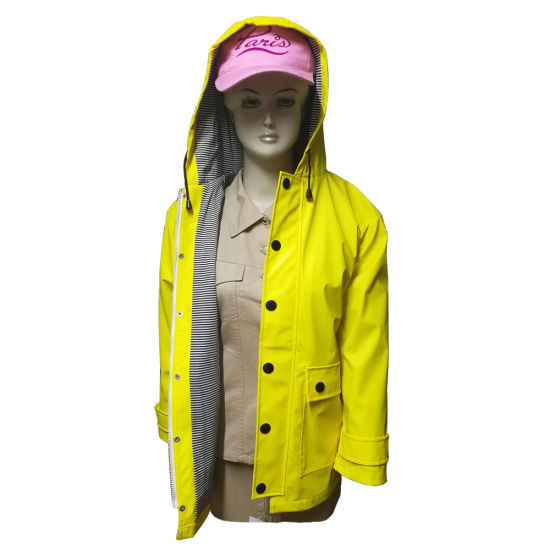 PU Leather Raincoat for Women, with Water Resistant and with Tricot Linning