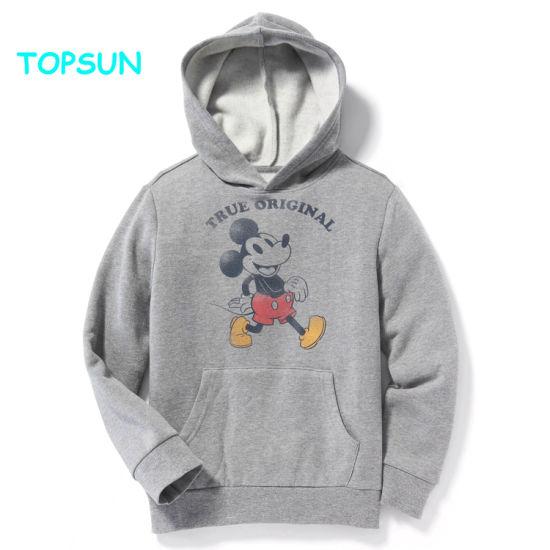 Custom Boys Cartoon Printed Plain Hoodie Sweatshirts Children Long Sleeve Polyester Hoody Pullover