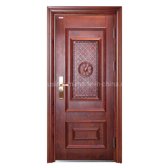 Modern Wooden Grain Single Steel Security Door with Window Zf -Ds-008